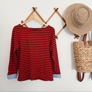 J Crew Cuffed Striped Boatneck Tshirt